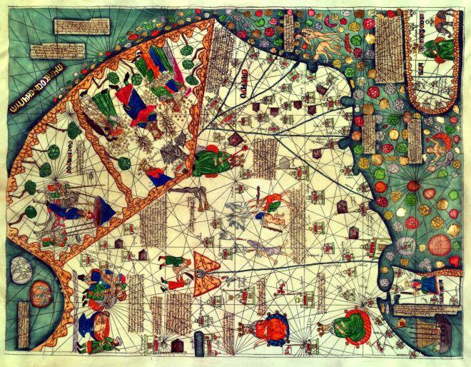 Фрагмент Каталонской карты мира 1375 года